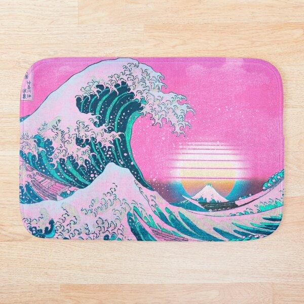 Vaporwave Aesthetic Great Wave Off Kanagawa Retro Sunset Bath Mat