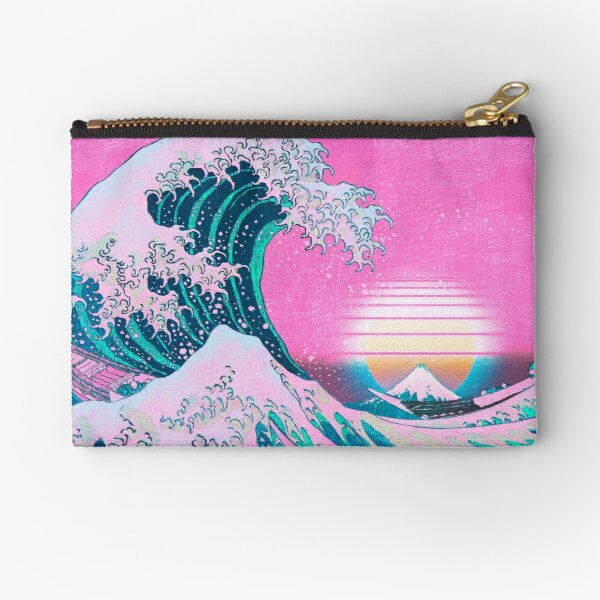 Vaporwave Aesthetic Great Wave Off Kanagawa Retro Sunset Zipper Pouch