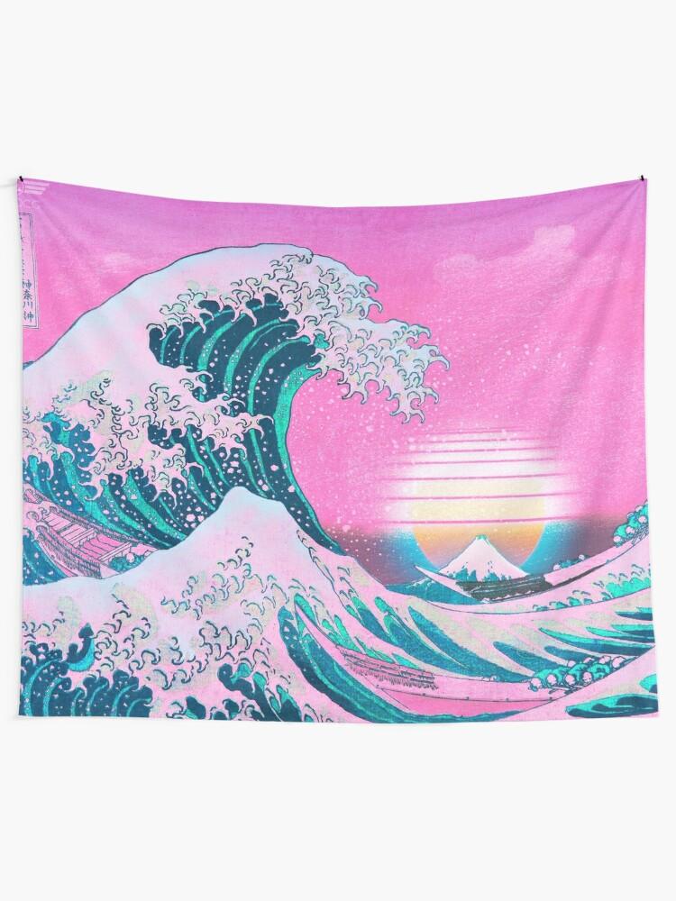 Alternate view of Vaporwave Aesthetic Great Wave Off Kanagawa Retro Sunset Tapestry