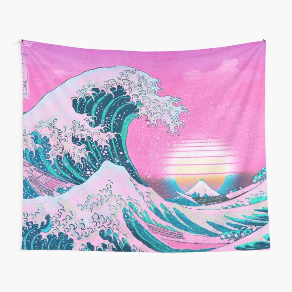 Vaporwave Aesthetic Great Wave Off Kanagawa Retro Sunset Tapestry