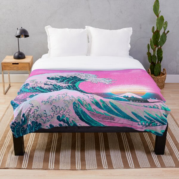 Vaporwave Aesthetic Great Wave Off Kanagawa Retro Sunset Throw Blanket