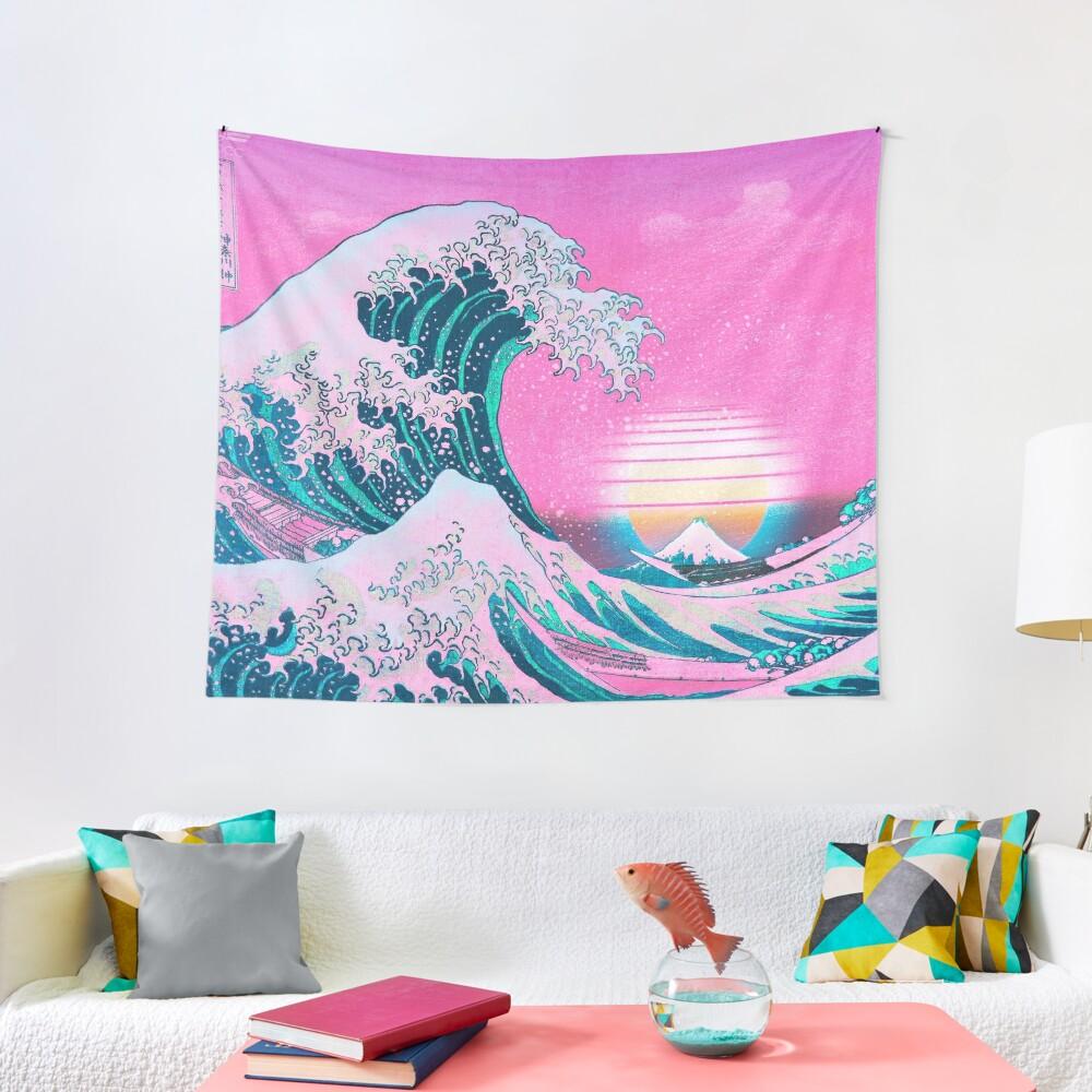 Vaporwave Aesthetic Great Wave Off Kanagawa Retro Sunset Tapestry