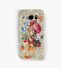 Bunch Of Flowers Over Old Book Page Samsung Galaxy Case/Skin