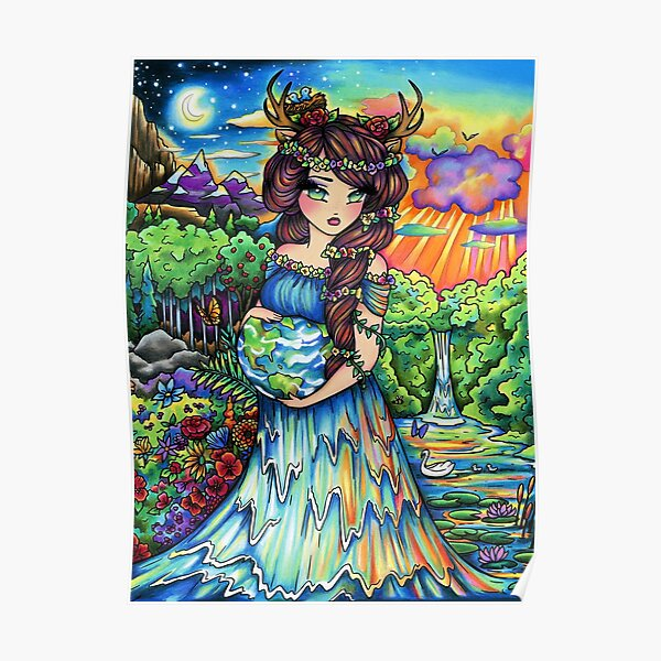 Mother Earth, Mother Nature Pregnant Fantasy Landscape Artwork Poster