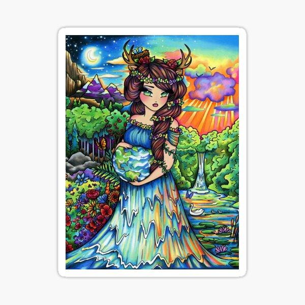 Mother Earth, Mother Nature Pregnant Fantasy Landscape Artwork Sticker