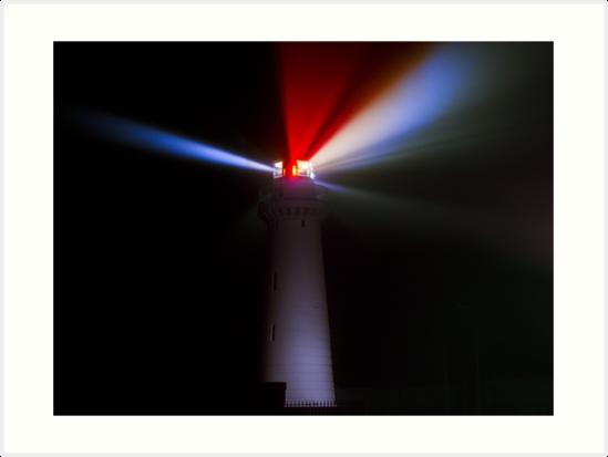 Lighthouse at night - Light beams shining by beautiful-world