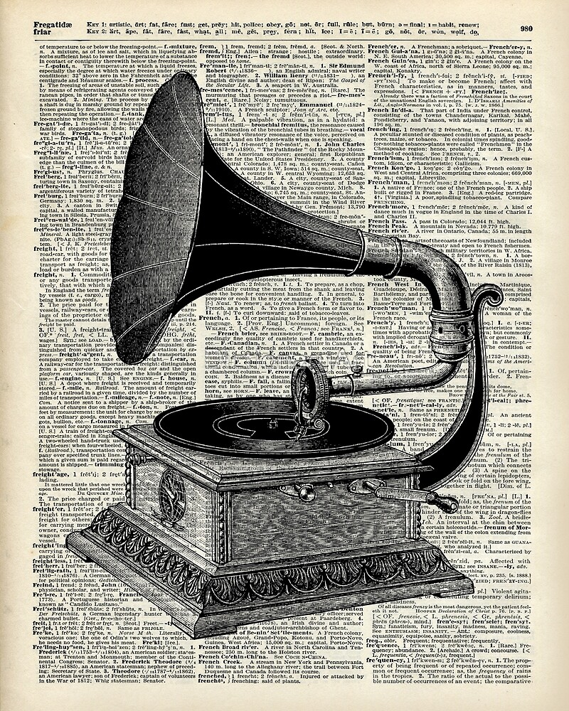 Vintage Gramophone Record Player Dictionary Art by DictionaryArt