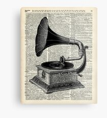 Vintage Gramophone Record Player Dictionary Art Metal Print