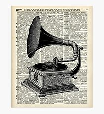 Vintage Gramophone Record Player Dictionary Art Photographic Print