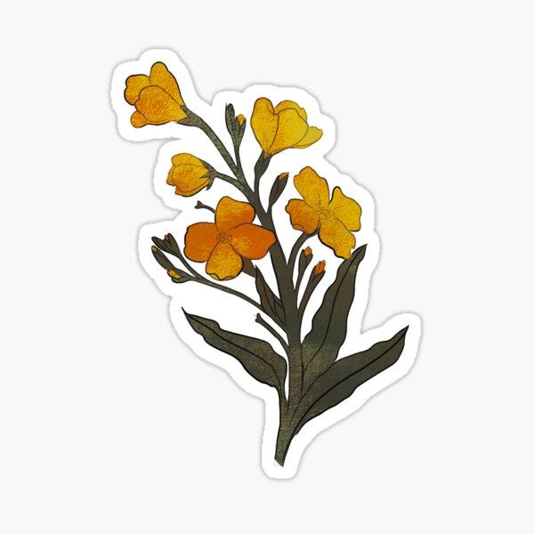 yellow wallflowers Sticker
