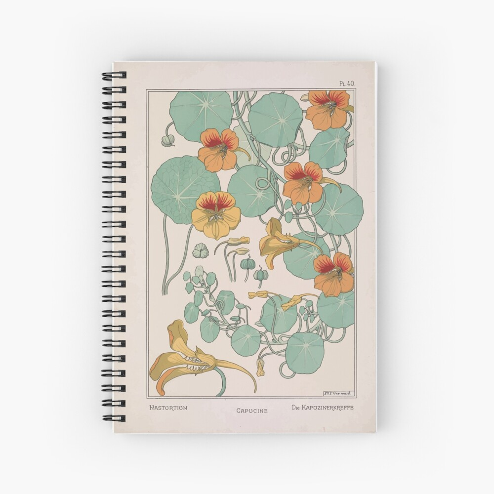 Plante et Ses Applications Ornementales Ornamental Plants Grasset Eugene Maurice Pillard Verneuil 1896 Art Nouveau 0079 Nasturtium Spiral Notebook