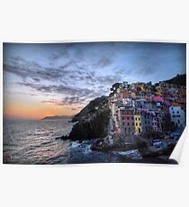 Sunset at Riomaggiore Poster