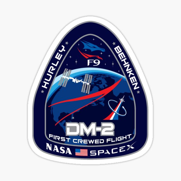 SpaceX NASA Crew Dragon DM-2 Mission Patch Sticker