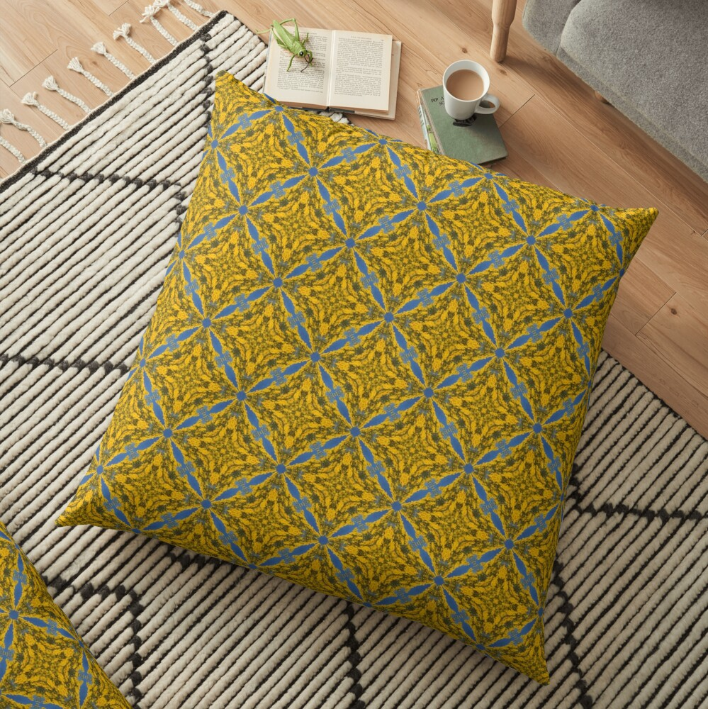 Blue and Gold Abstract Pattern Floor Pillow