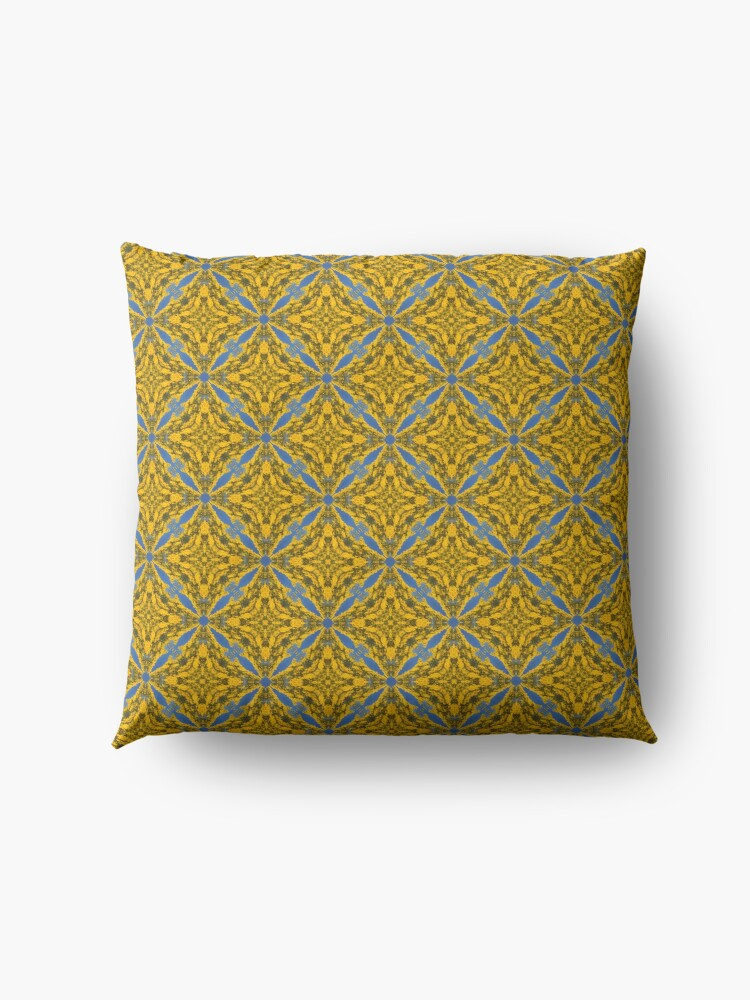 Alternate view of Blue and Gold Abstract Pattern Floor Pillow