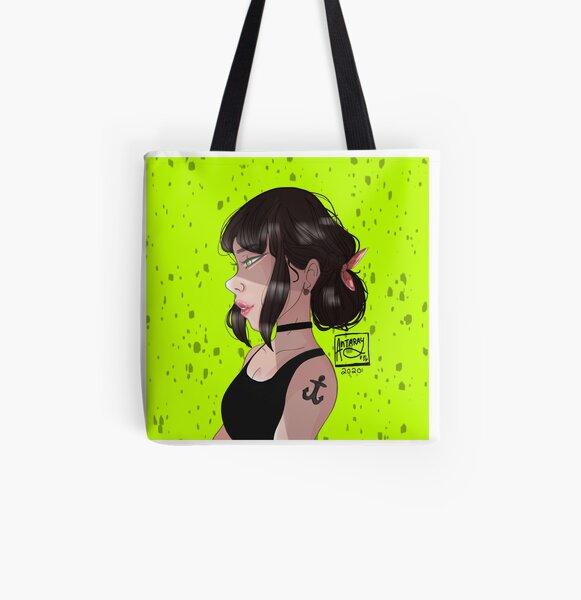 Brunette girl All Over Print Tote Bag
