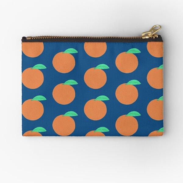 Awesome Oranges Citrus Pattern Navy Classic Blue Zipper Pouch