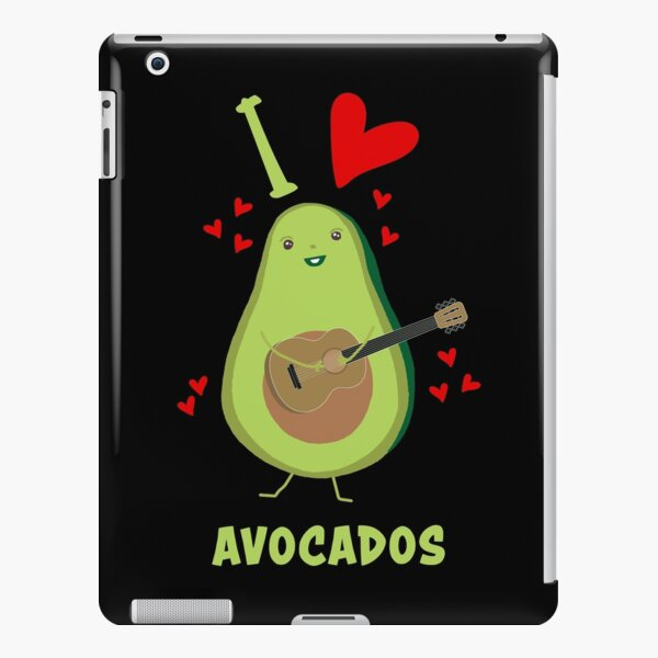 I Love Avocados With Hearts Avocado Playing Guitar Funny iPad Snap Case