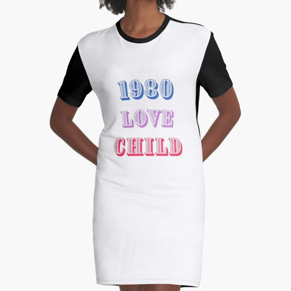 1980 Love Child Graphic T-Shirt Dress