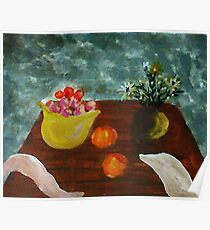 Table with bowl of apples and flowers, watercolor Poster