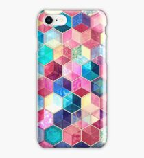 Topaz & Ruby Crystal Honeycomb Cubes iPhone Case/Skin