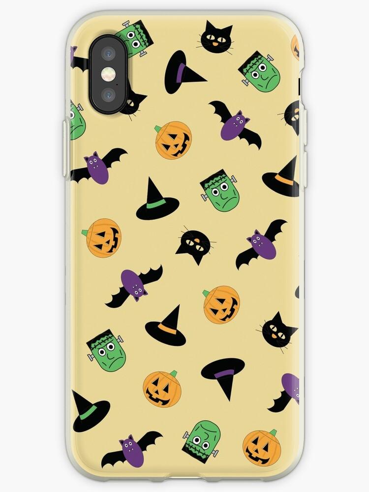 Halloween Pattern with Pumpkin Frankenstein Cat Witch  by Valeria  Leone