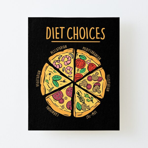 Diet Choices, Pizza Diet, Funny Diet Canvas Mounted Print