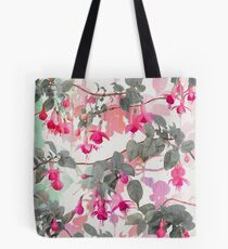 Rainbow Fuchsia Floral Pattern - with grey Tote Bag