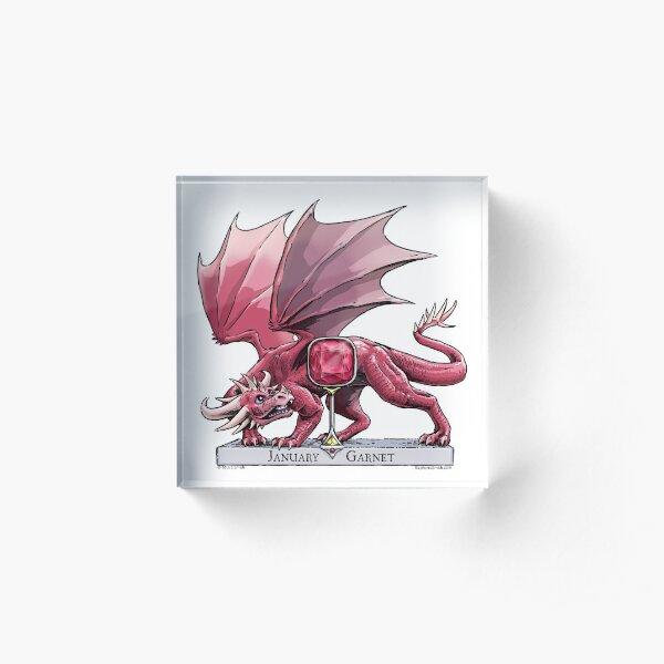 Birthstone Dragon: January Garnet Illustration Acrylic Block