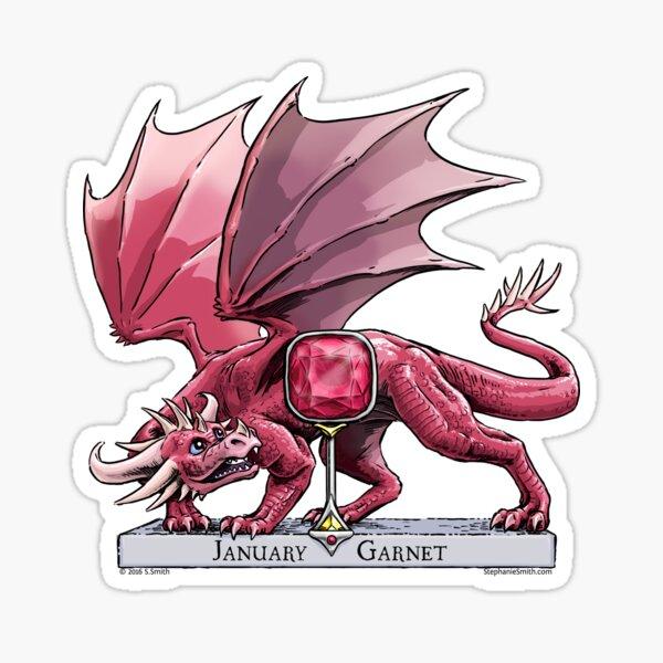 Birthstone Dragon: January Garnet Illustration Sticker