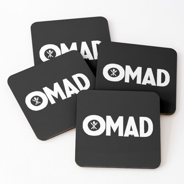 OMAD: One Meal a Day (Black) Coasters (Set of 4)