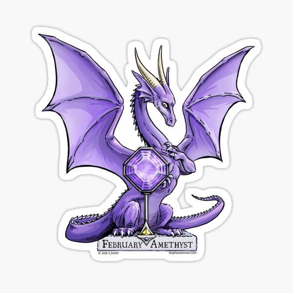 Birthstone Dragon: February Amethyst Illustration Sticker