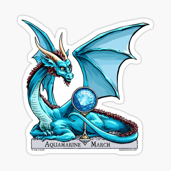 Birthstone Dragon: March Aquamarine Illustration Sticker
