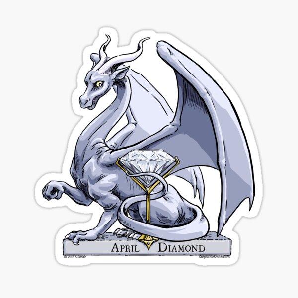 Birthstone Dragon: April Diamond Illustration Sticker