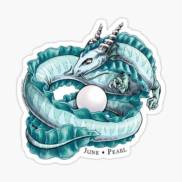 Birthstone Dragon: June Pearl Illustration  Sticker