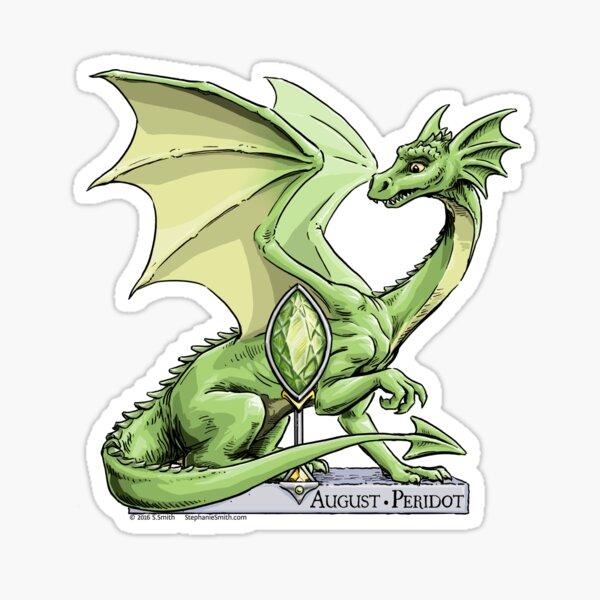 Birthstone Dragon: August Peridot Illustration Sticker