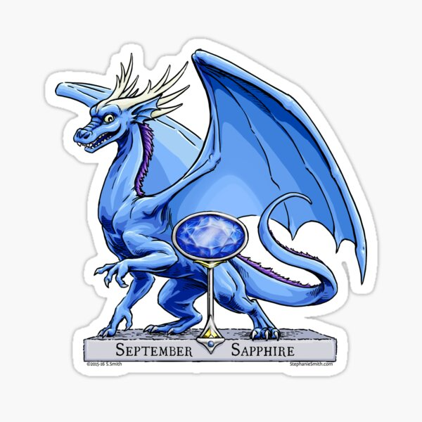 Birthstone Dragon: September Sapphire Illustration Sticker