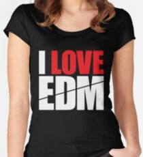 I Love EDM (Electronic Dance Music)  [white] Women's Fitted Scoop T-Shirt