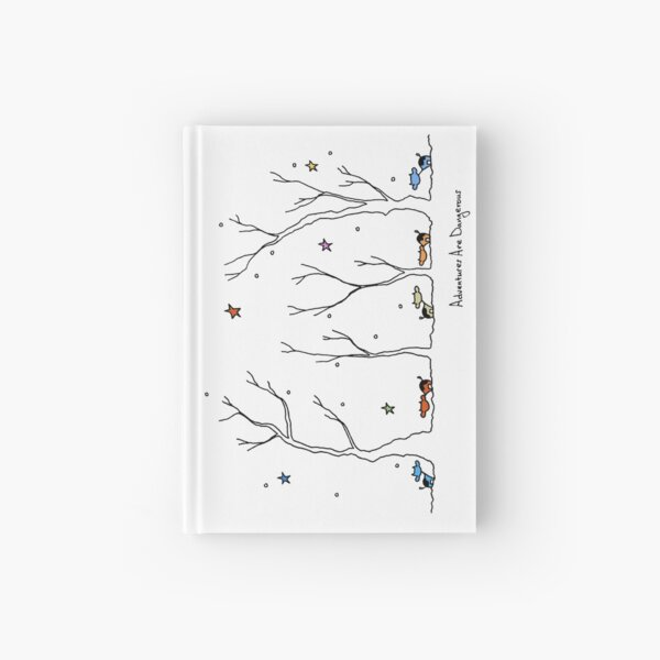 Colorful Cows in Snowy Forest with Colorful Stars Hardcover Journal