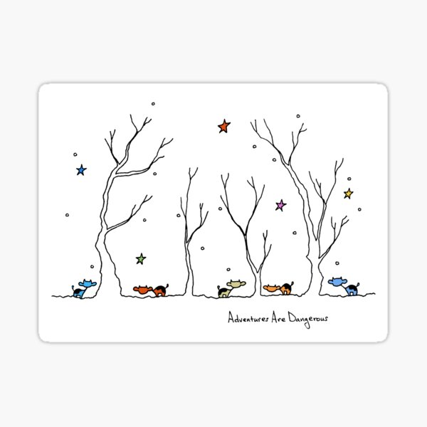 Colorful Cows in Snowy Forest with Colorful Stars Sticker