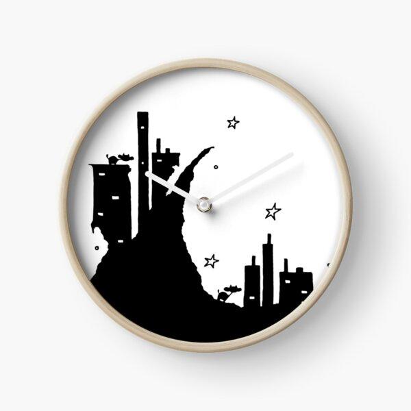 Cows on Dark Cliff City Under Stars Clock