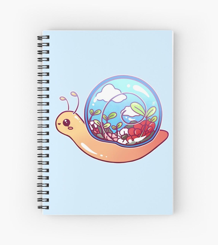 Cute Terrarium Snail Spiral Notebook By Heysoleilart Redbubble