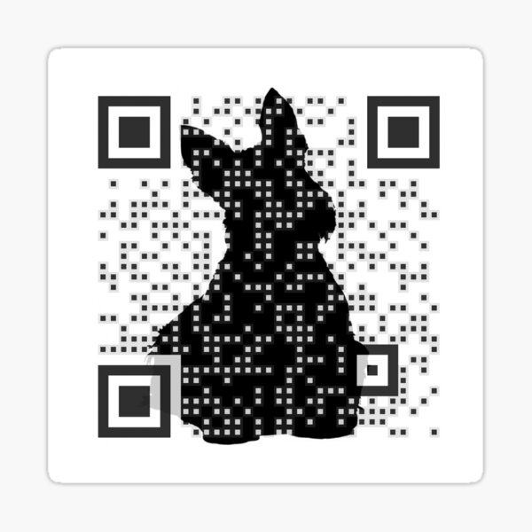Dog Logo QR Code Sticker