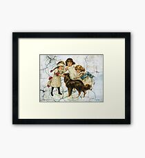 Victorian Children Playing Hide Seek With Dog Framed Print