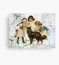 Victorian Children Playing Hide Seek With Dog Canvas Print