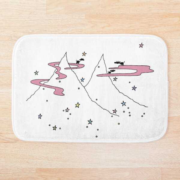 Cows on Clouds Over Colorful Starry Mountains Bath Mat