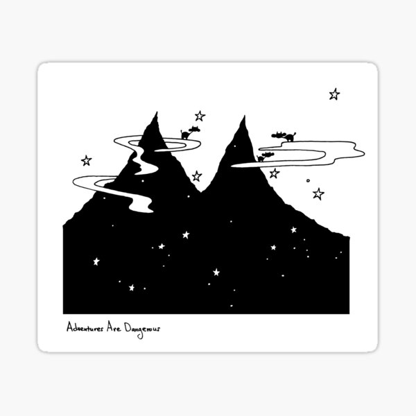 Cows on Clouds Over Dark Starry Mountains Sticker