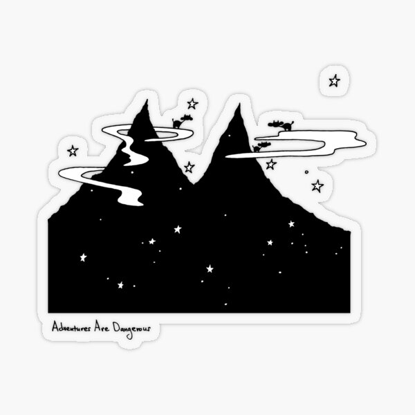 Cows on Clouds Over Dark Starry Mountains Transparent Sticker