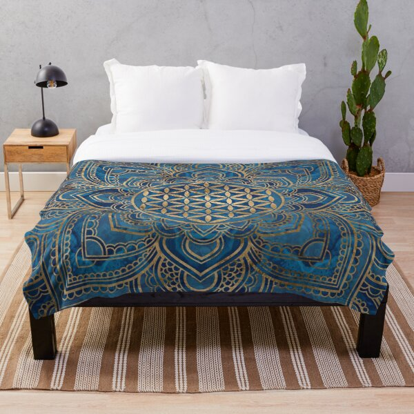 Flower of Life in Lotus Mandala - Blue Marble and Gold Throw Blanket