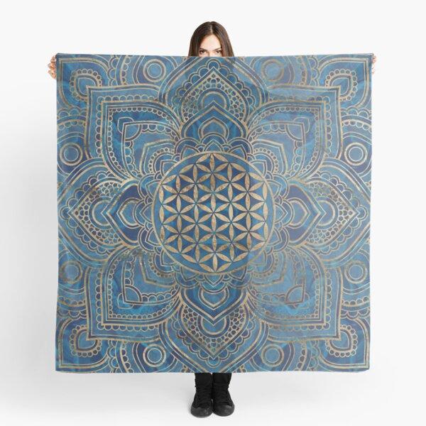 Blume des Lebens in Lotus Mandala - blauer Marmor und Gold Tuch